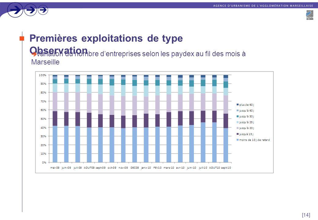 [14] Premières exploitations de type Observation  Variation du nombre d'entreprises selon les paydex au fil des mois à Marseille