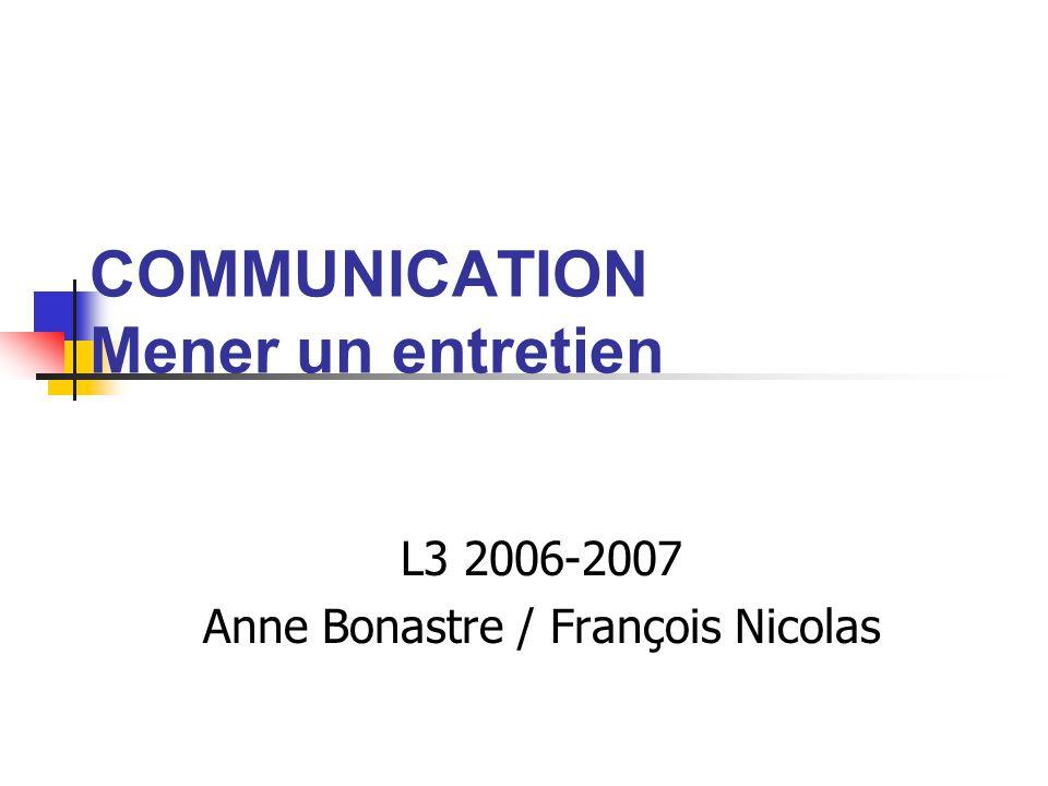 COMMUNICATION Mener un entretien L3 2006-2007 Anne Bonastre / François Nicolas