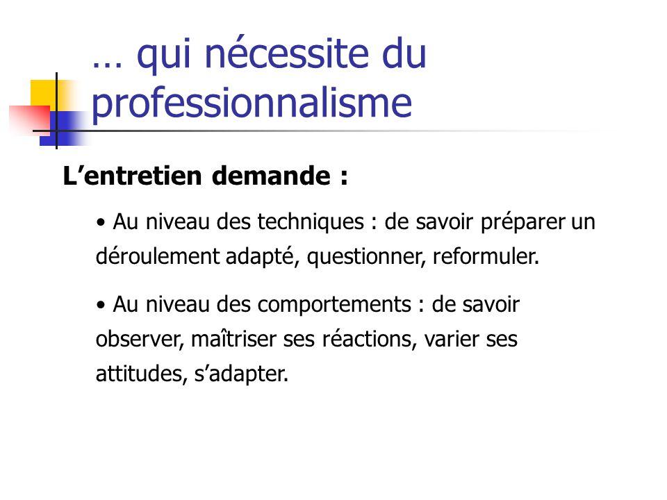 … qui nécessite du professionnalisme L'entretien demande : Au niveau des techniques : de savoir préparer un déroulement adapté, questionner, reformule