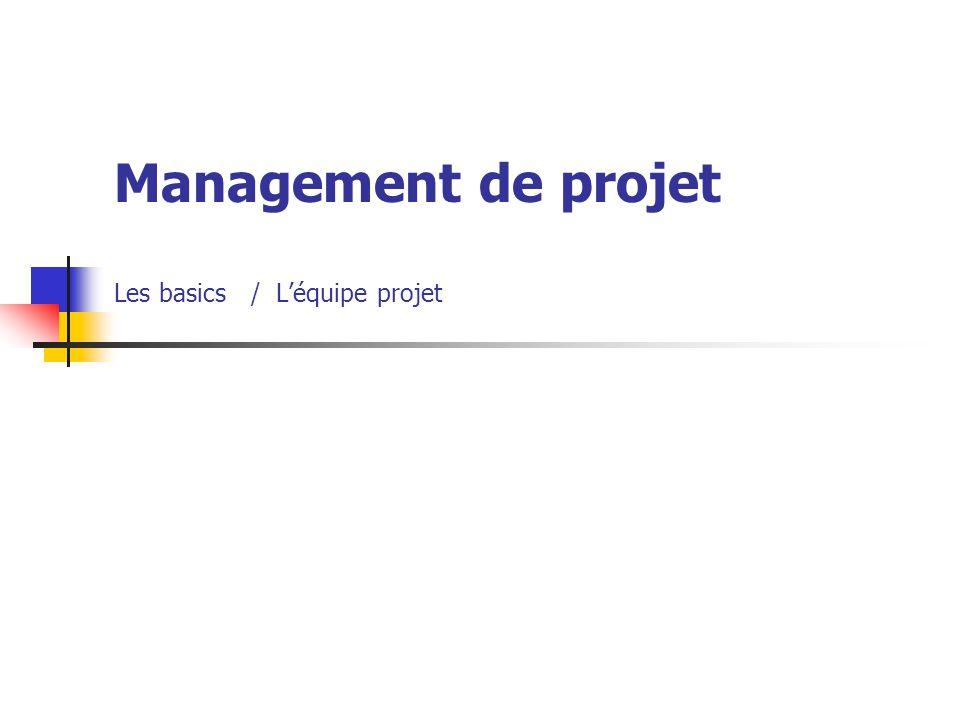 Management de projet Les basics / L'équipe projet