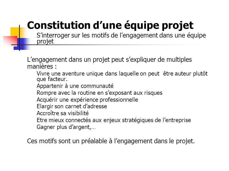 Constitution d'une équipe projet S'interroger sur les motifs de l'engagement dans une équipe projet L'engagement dans un projet peut s'expliquer de multiples manières : Vivre une aventure unique dans laquelle on peut être auteur plutôt que facteur.