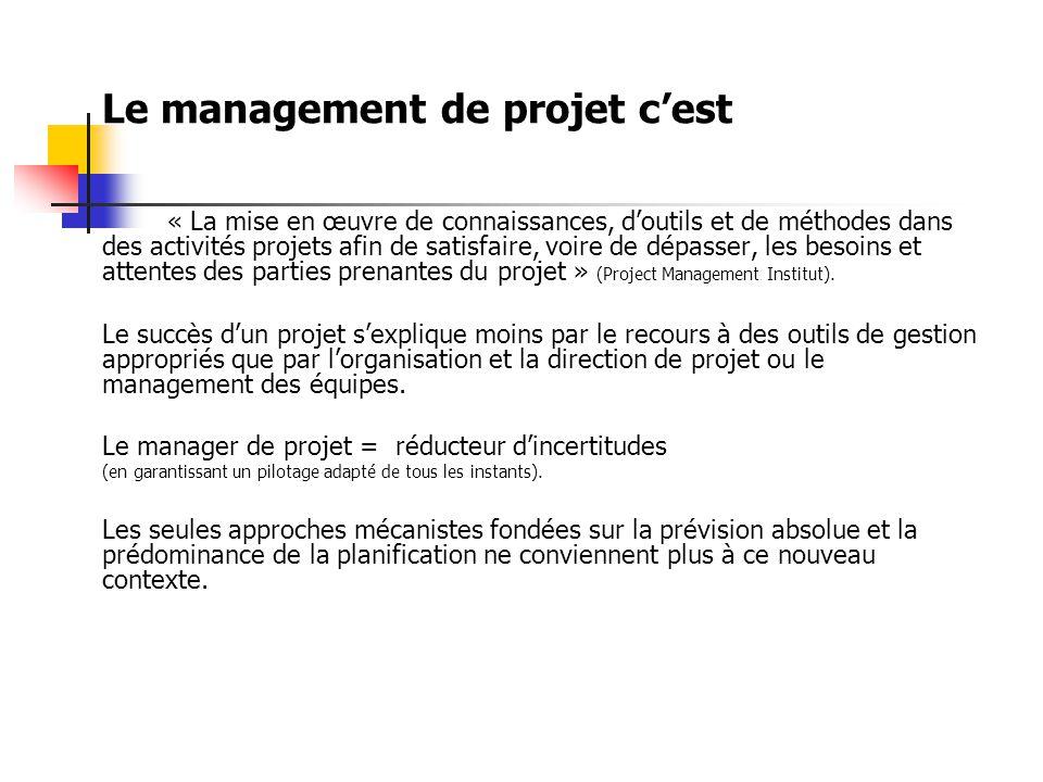 Le management de projet c'est « La mise en œuvre de connaissances, d'outils et de méthodes dans des activités projets afin de satisfaire, voire de dépasser, les besoins et attentes des parties prenantes du projet » (Project Management Institut).