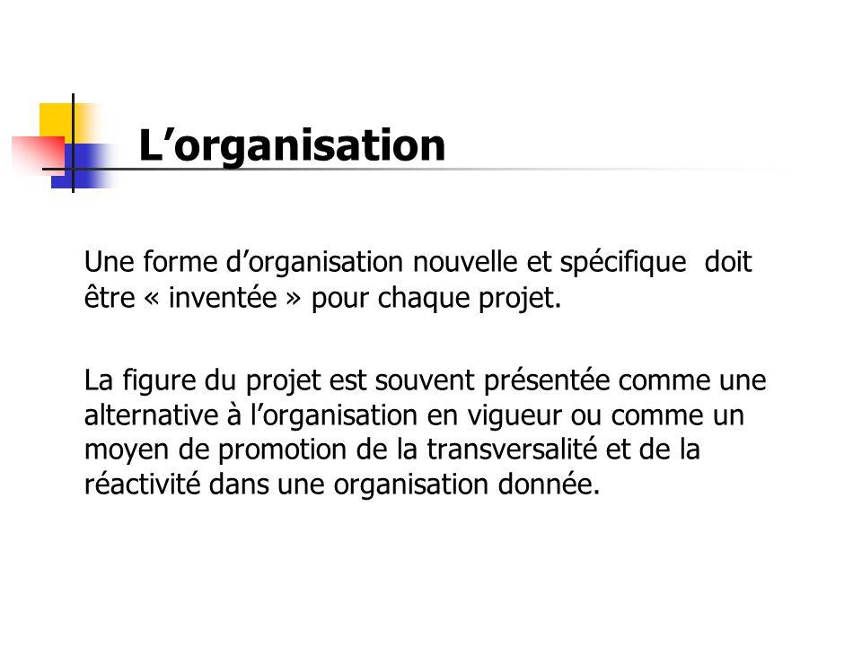 L'organisation Une forme d'organisation nouvelle et spécifique doit être « inventée » pour chaque projet.