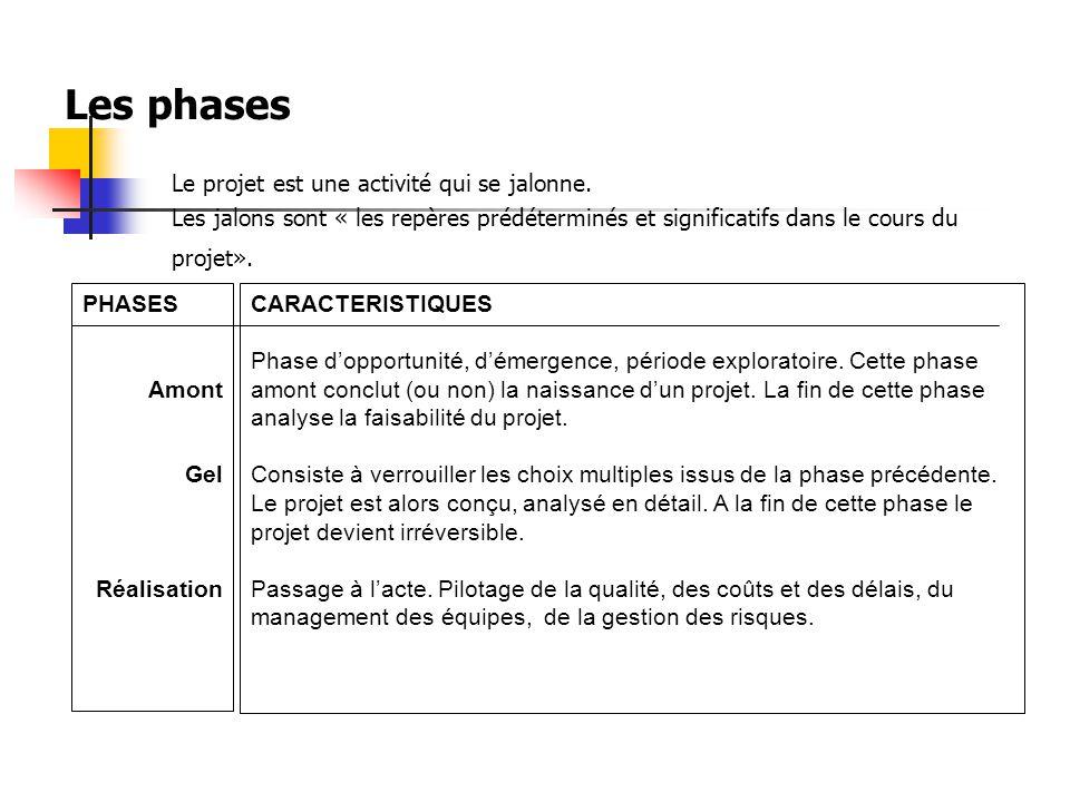 Les phases Le projet est une activité qui se jalonne.