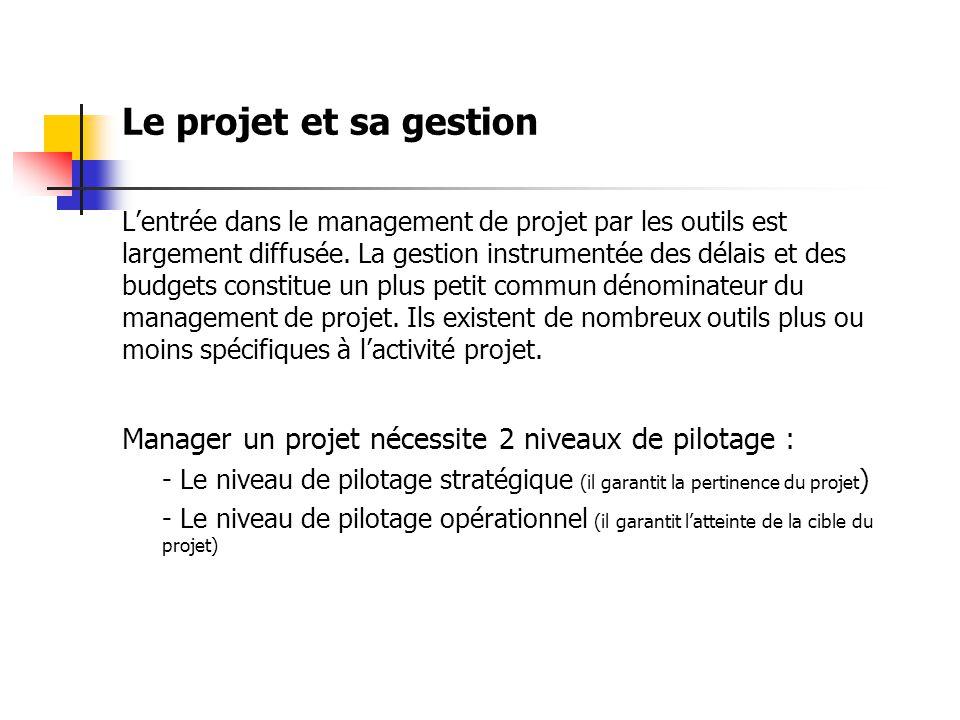 Le projet et sa gestion L'entrée dans le management de projet par les outils est largement diffusée.