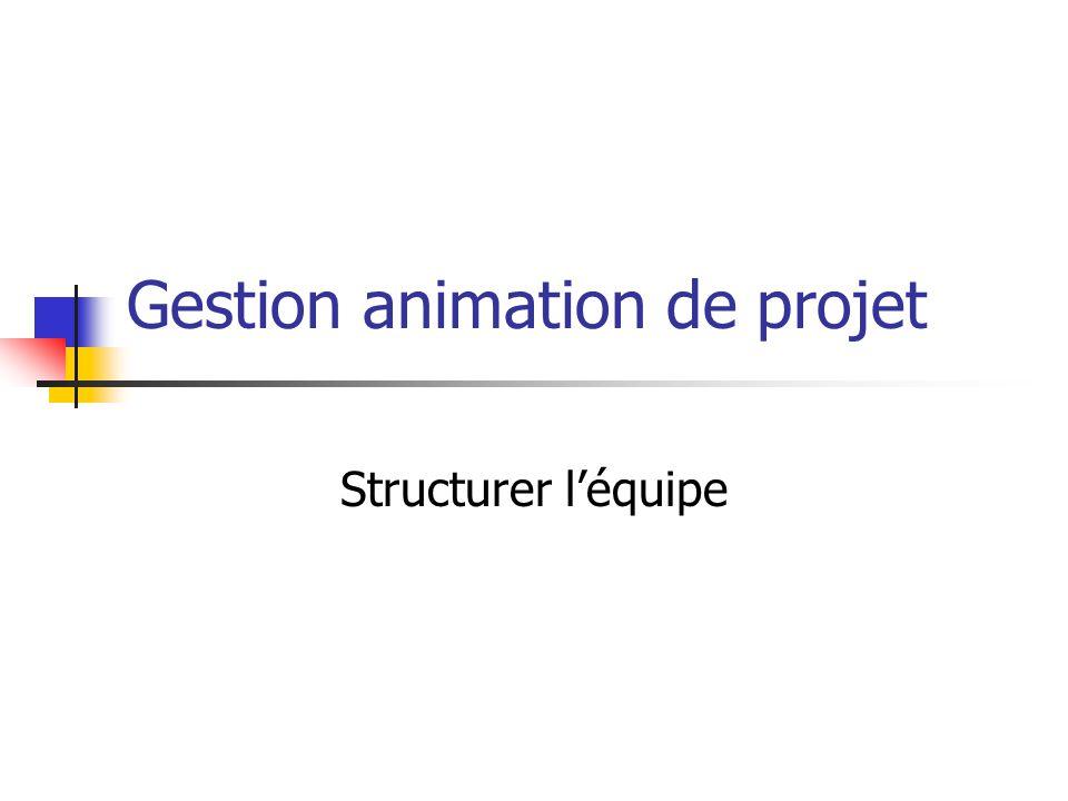 Gestion animation de projet Structurer l'équipe