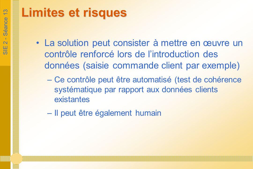 SIE 2 - Séance 13 Limites et risques La solution peut consister à mettre en œuvre un contrôle renforcé lors de l'introduction des données (saisie comm