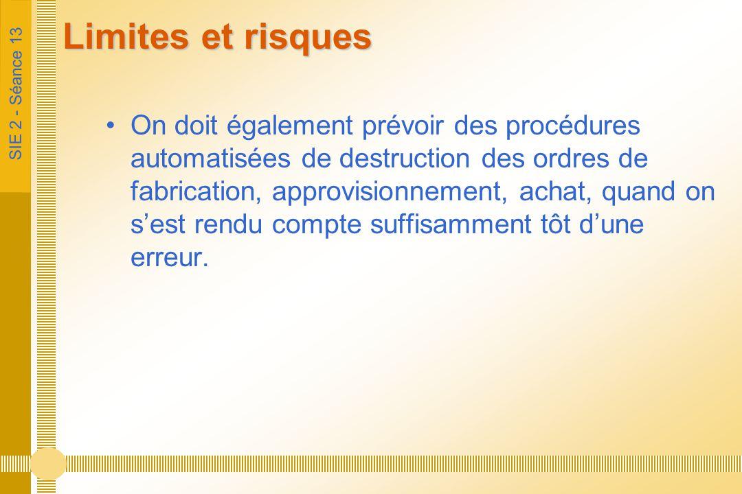 SIE 2 - Séance 13 Limites et risques On doit également prévoir des procédures automatisées de destruction des ordres de fabrication, approvisionnement