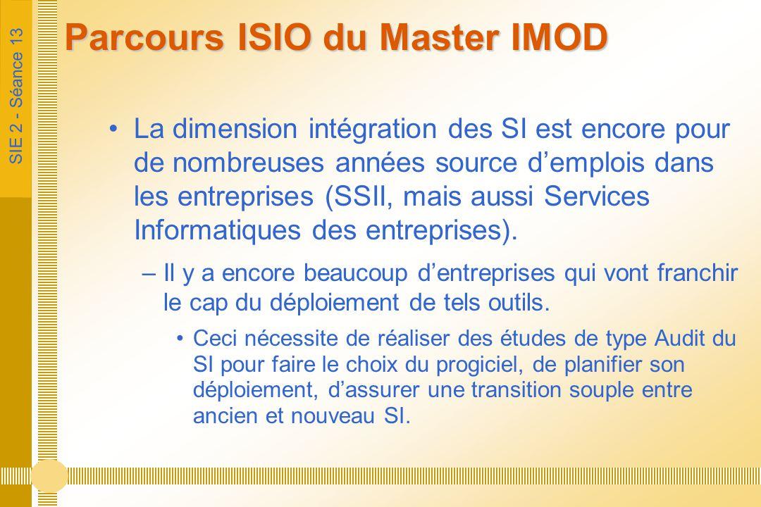 SIE 2 - Séance 13 Parcours ISIO du Master IMOD La dimension intégration des SI est encore pour de nombreuses années source d'emplois dans les entrepri