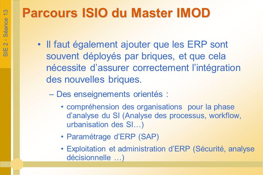 SIE 2 - Séance 13 Parcours ISIO du Master IMOD Il faut également ajouter que les ERP sont souvent déployés par briques, et que cela nécessite d'assure