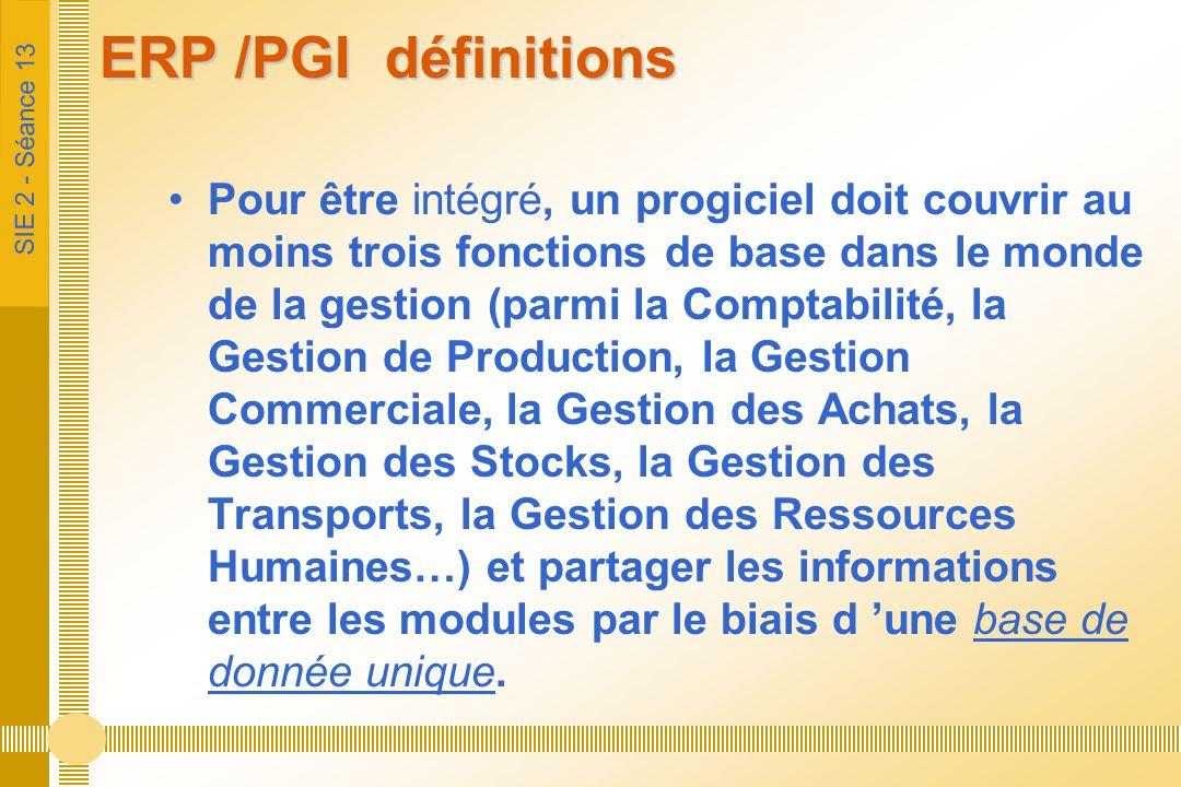 SIE 2 - Séance 13 ERP /PGI définitions Pour être intégré, un progiciel doit couvrir au moins trois fonctions de base dans le monde de la gestion (parm