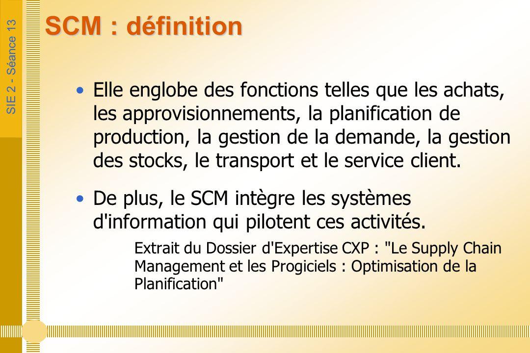 SIE 2 - Séance 13 SCM : définition Elle englobe des fonctions telles que les achats, les approvisionnements, la planification de production, la gestio