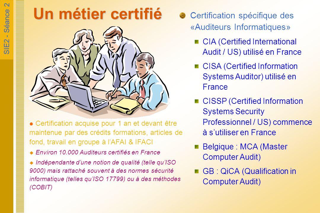 SIE2 - Séance 2 Un métier certifié Certification spécifique des «Auditeurs Informatiques» CIA (Certified International Audit / US) utilisé en France C