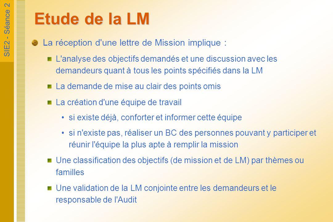 SIE2 - Séance 2 Etude de la LM La réception d'une lettre de Mission implique : L'analyse des objectifs demandés et une discussion avec les demandeurs