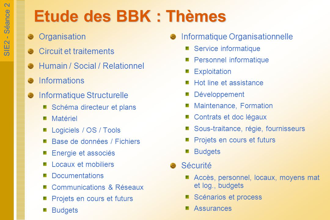 SIE2 - Séance 2 Etude des BBK : Thèmes Organisation Circuit et traitements Humain / Social / Relationnel Informations Informatique Structurelle Schéma