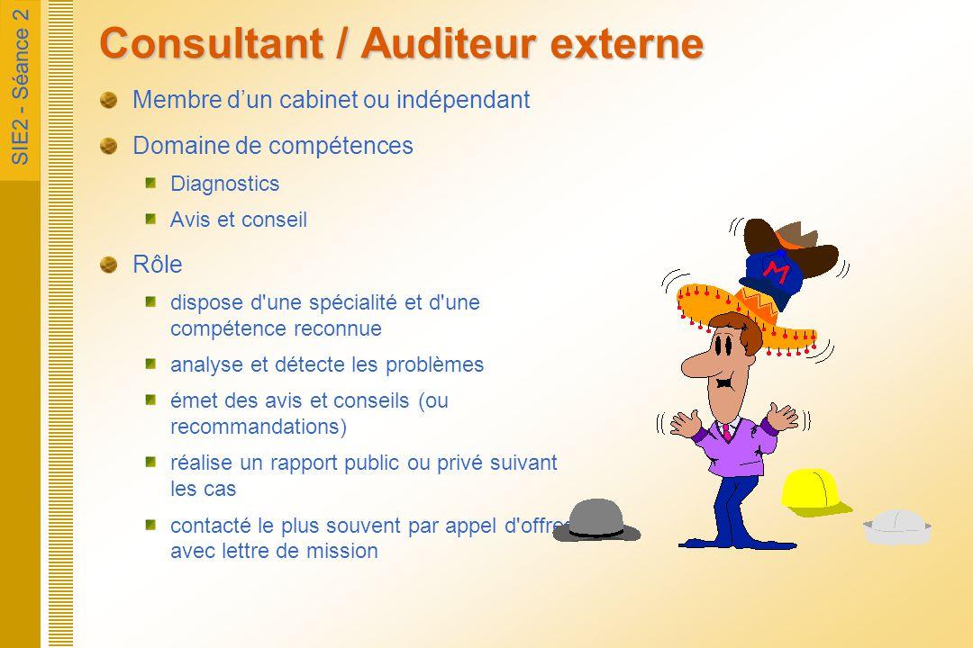 SIE2 - Séance 2 Consultant / Auditeur externe Membre d'un cabinet ou indépendant Domaine de compétences Diagnostics Avis et conseil Rôle dispose d'une