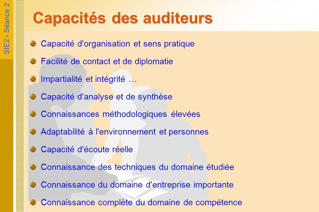 SIE2 - Séance 2 Un métier certifié Certification spécifique des «Auditeurs Informatiques» CIA (Certified International Audit / US) utilisé en France CISA (Certified Information Systems Auditor) utilisé en France CISSP (Certified Information Systems Security Professionnel / US) commence à s'utiliser en France Belgique : MCA (Master Computer Audit) GB : QiCA (Qualification in Computer Audit) l Certification acquise pour 1 an et devant être maintenue par des crédits formations, articles de fond, travail en groupe à l'AFAI & IFACI  Environ 10.000 Auditeurs certifiés en France  Indépendante d'une notion de qualité (telle qu'ISO 9000) mais rattaché souvent à des normes sécurité informatique (telles qu'ISO 17799) ou à des méthodes (COBIT)
