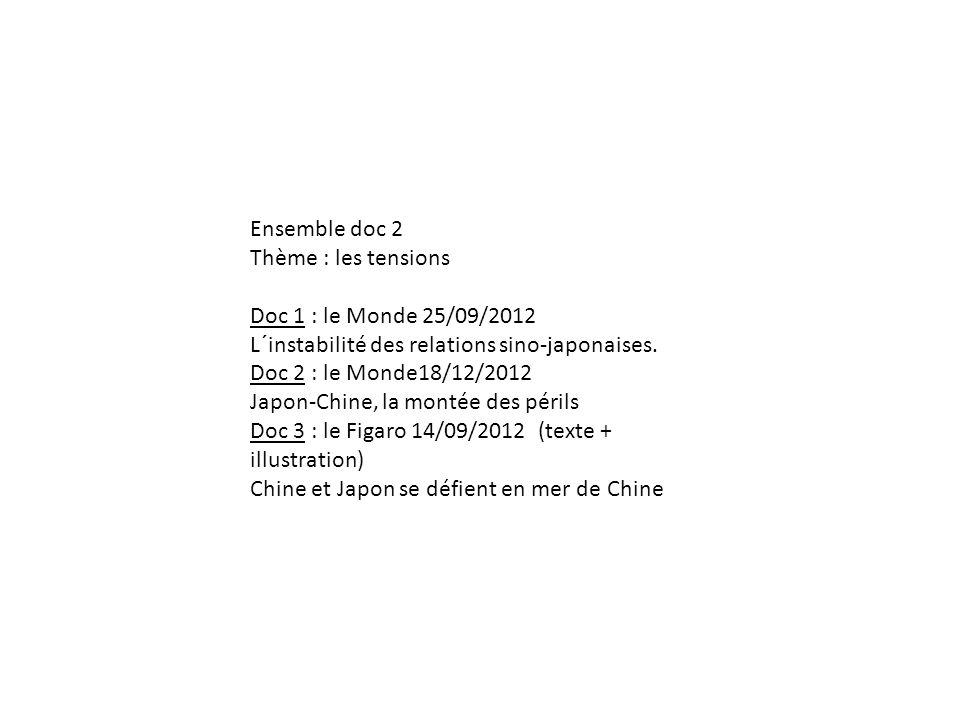 Ensemble doc 2 Thème : les tensions Doc 1 : le Monde 25/09/2012 L´instabilité des relations sino-japonaises. Doc 2 : le Monde18/12/2012 Japon-Chine, l