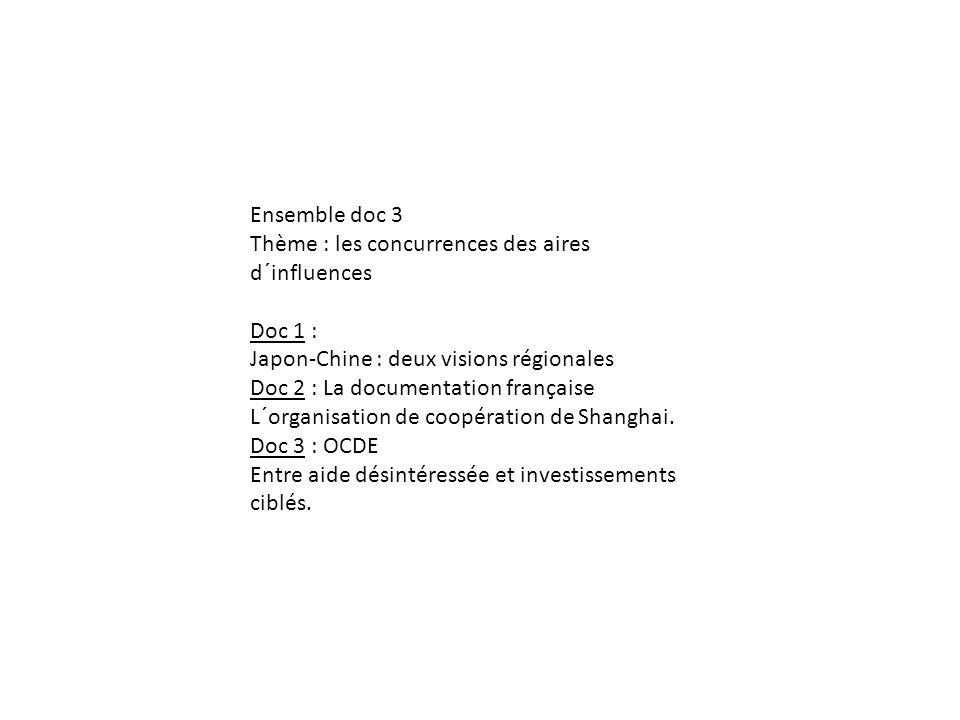 Ensemble doc 3 Thème : les concurrences des aires d´influences Doc 1 : Japon-Chine : deux visions régionales Doc 2 : La documentation française L´orga