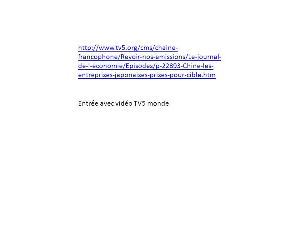 Entrée avec vidéo TV5 monde http://www.tv5.org/cms/chaine- francophone/Revoir-nos-emissions/Le-journal- de-l-economie/Episodes/p-22893-Chine-les- entr