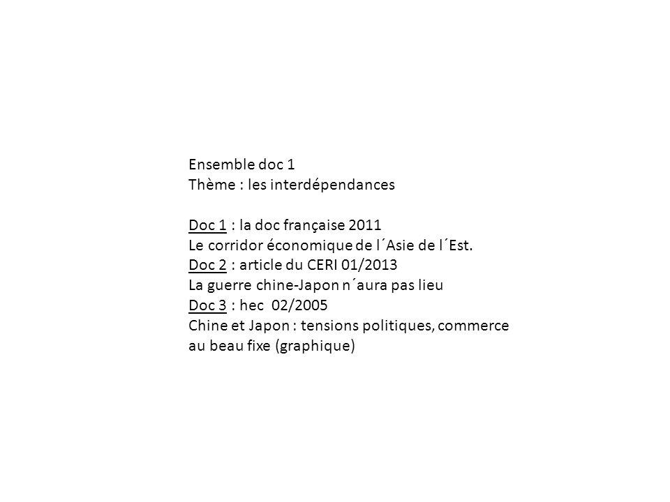 Ensemble doc 1 Thème : les interdépendances Doc 1 : la doc française 2011 Le corridor économique de l´Asie de l´Est. Doc 2 : article du CERI 01/2013 L