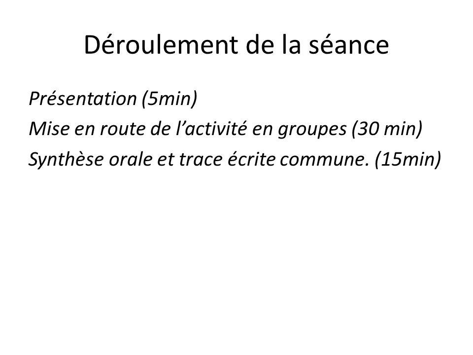 Déroulement de la séance Présentation (5min) Mise en route de l'activité en groupes (30 min) Synthèse orale et trace écrite commune. (15min)