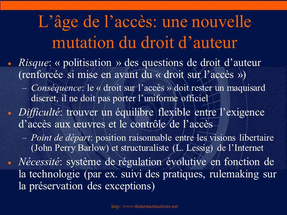 http://www.theinternetinstitute.net L'âge de l'accès: une nouvelle mutation du droit d'auteur  Risque: « politisation » des questions de droit d'aute