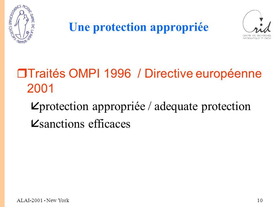 ALAI-2001 - New York10 Une protection appropriée rTraités OMPI 1996 / Directive européenne 2001 åprotection appropriée / adequate protection åsanctions efficaces