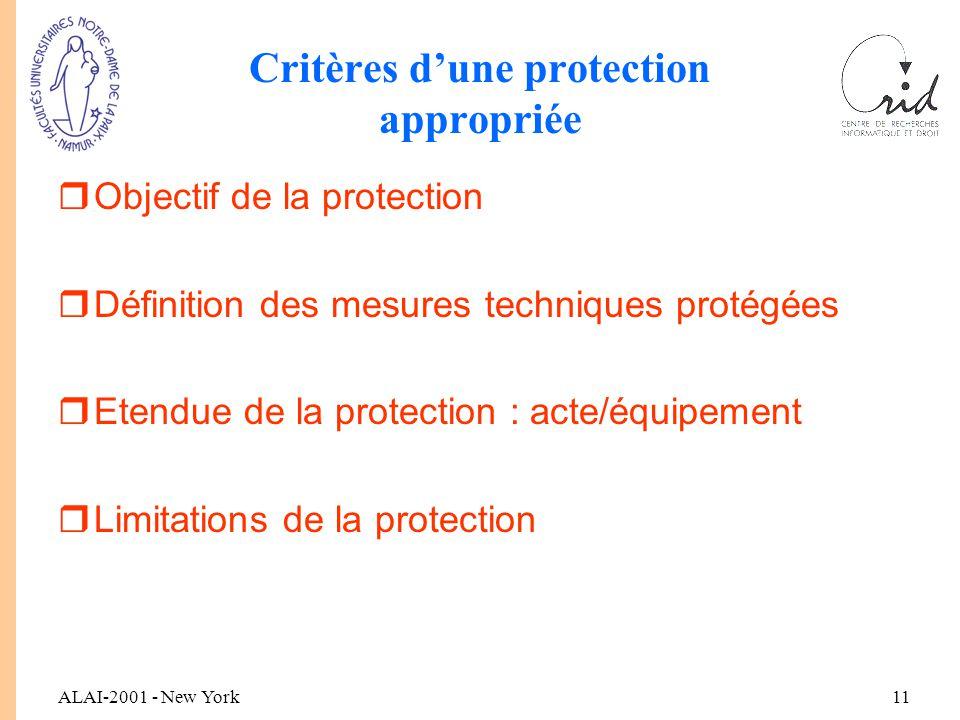 ALAI-2001 - New York11 Critères d'une protection appropriée rObjectif de la protection rDéfinition des mesures techniques protégées rEtendue de la protection : acte/équipement rLimitations de la protection