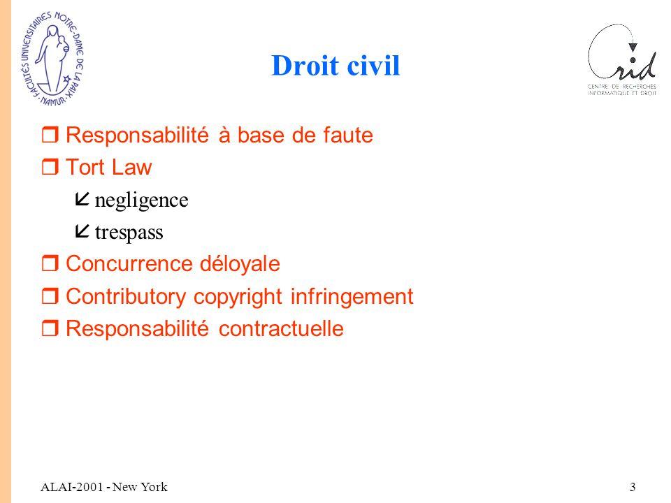ALAI-2001 - New York3 Droit civil rResponsabilité à base de faute rTort Law ånegligence åtrespass rConcurrence déloyale rContributory copyright infringement rResponsabilité contractuelle