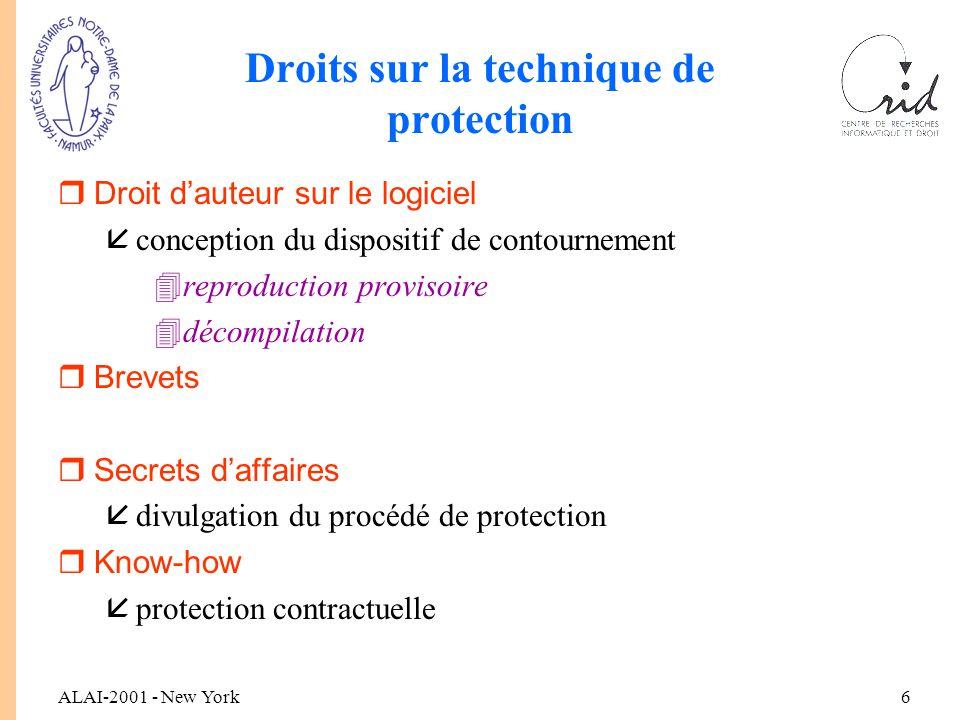 ALAI-2001 - New York7 Comparaison des dispositions rActe de neutralisation / équipements de neutralisation rType de mesures techniques rSanctions rTitulaire de l'action