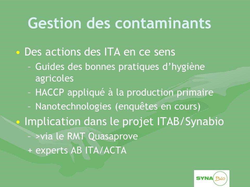 Gestion des contaminants Des actions des ITA en ce sens – –Guides des bonnes pratiques d'hygiène agricoles – –HACCP appliqué à la production primaire – –Nanotechnologies (enquêtes en cours) Implication dans le projet ITAB/Synabio – –>via le RMT Quasaprove + experts AB ITA/ACTA