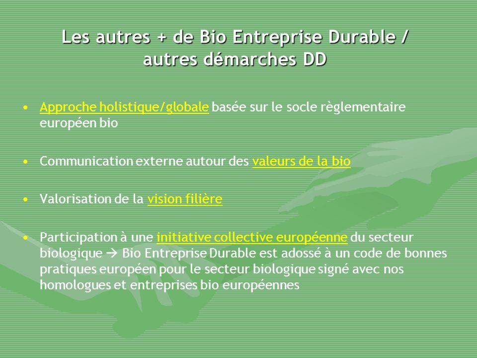 Les autres + de Bio Entreprise Durable / autres d é marches DD Approche holistique/globale basée sur le socle règlementaire européen bio Communication
