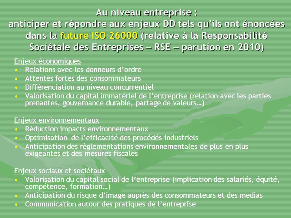 Au niveau entreprise : anticiper et r é pondre aux enjeux DD tels qu ' ils ont é nonc é es dans la future ISO 26000 (relative à la Responsabilit é Soc