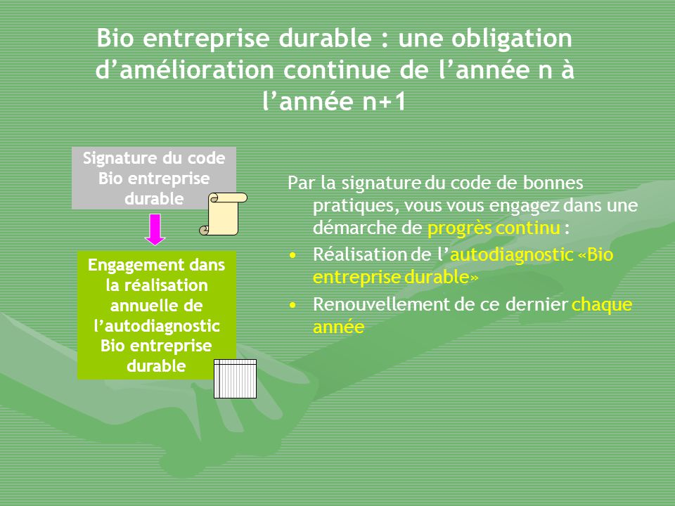 Bio entreprise durable : une obligation d'amélioration continue de l'année n à l'année n+1 Par la signature du code de bonnes pratiques, vous vous eng