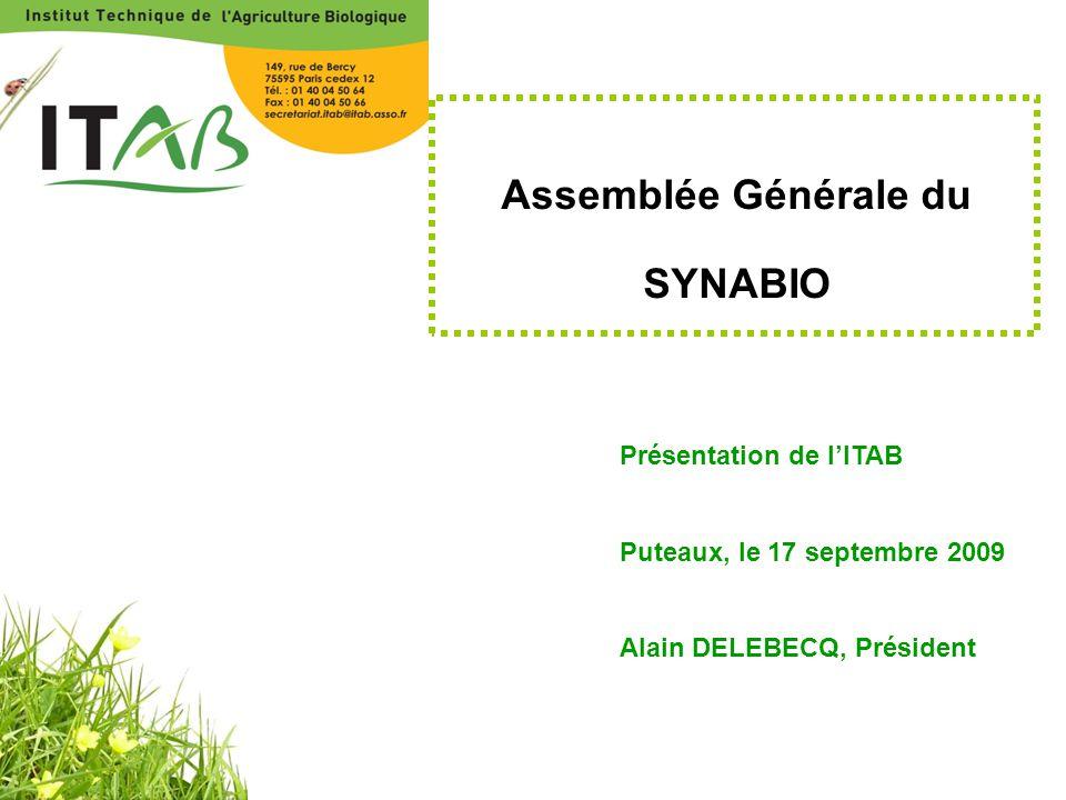 Assemblée Générale du SYNABIO Présentation de l'ITAB Puteaux, le 17 septembre 2009 Alain DELEBECQ, Président