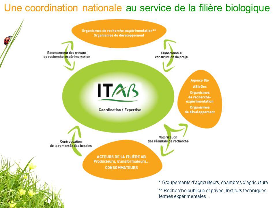 * Groupements d'agriculteurs, chambres d'agriculture ** Recherche publique et privée, Instituts techniques, fermes expérimentales… Une coordination nationale au service de la filière biologique