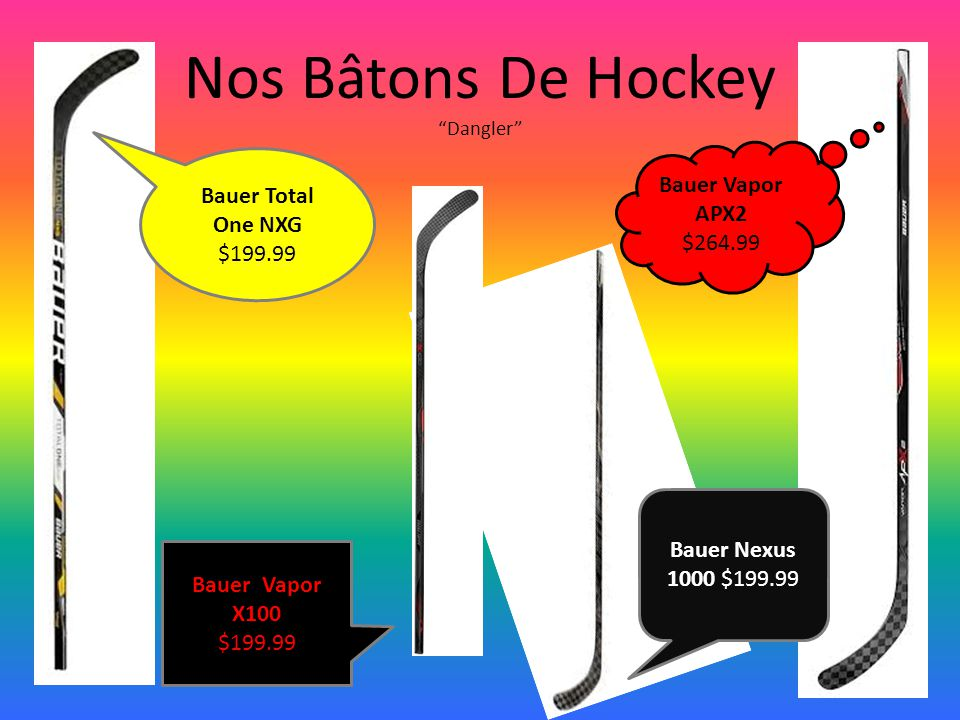 "Nos Bâtons De Hockey ""Dangler"" Bauer Vapor APX2 $264.99 Bauer Total One NXG $199.99 Bauer Nexus 1000 $199.99 Bauer Vapor X100 $199.99"