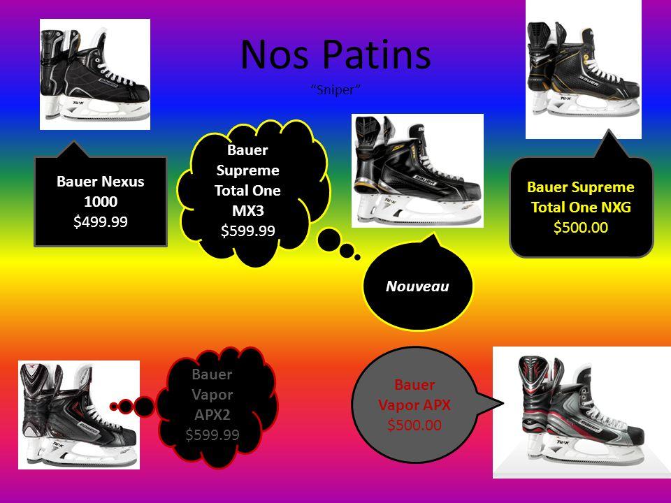 "Nos Patins ""Sniper"" Bauer Vapor APX2 $599.99 Bauer Vapor APX $500.00 Bauer Supreme Total One NXG $500.00 Bauer Nexus 1000 $499.99 Bauer Supreme Total"