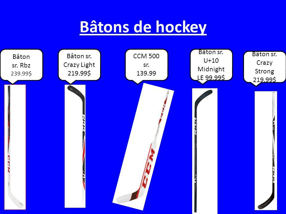 Equipement de gardien de but Pads de hockey 399.99$ Des gans 159.99$ Protector de chest 139.99$ Protector de genous 45.99$ Casque du gardien 119.99$