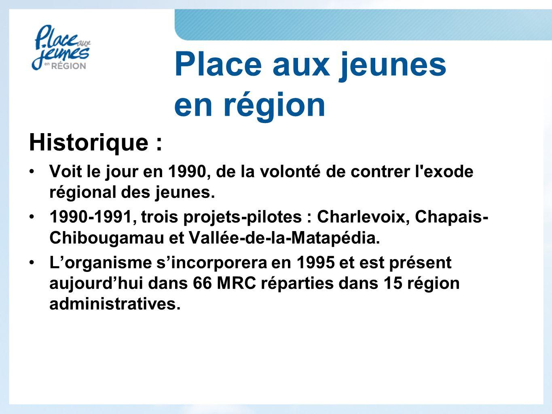 Place aux jeunes en région Historique : Voit le jour en 1990, de la volonté de contrer l exode régional des jeunes.