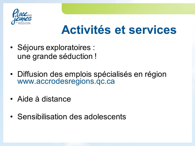 Activités et services Séjours exploratoires : une grande séduction .