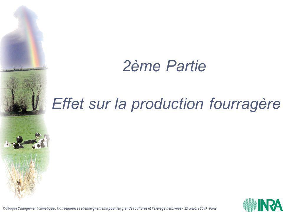 Colloque Changement climatique : Conséquences et enseignements pour les grandes cultures et l'élevage herbivore – 22 octobre 2009 - Paris 2ème Partie