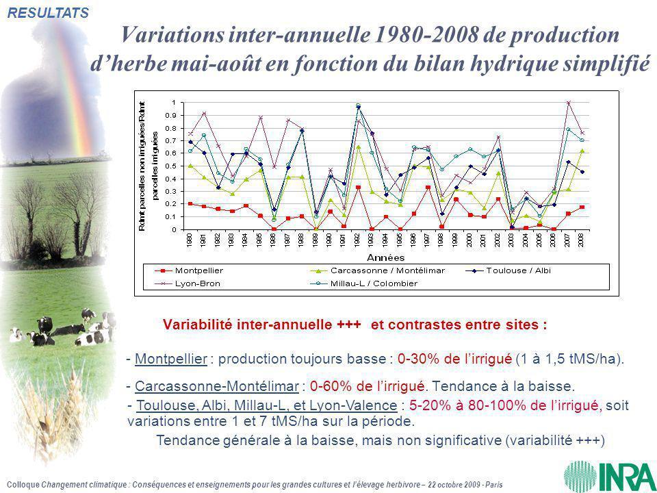 Colloque Changement climatique : Conséquences et enseignements pour les grandes cultures et l'élevage herbivore – 22 octobre 2009 - Paris Variations i