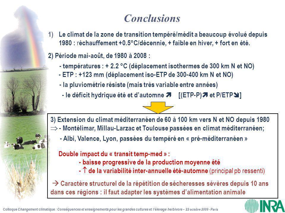 Colloque Changement climatique : Conséquences et enseignements pour les grandes cultures et l'élevage herbivore – 22 octobre 2009 - Paris 3) Extension du climat méditerranéen de 60 à 100 km vers N et NO depuis 1980  - Montélimar, Millau-Larzac et Toulouse passées en climat méditerranéen; Double impact du « transit temp-med » : - baisse progressive de la production moyenne été -  de la variabilité inter-annuelle été-automne (principal pb ressenti)  Caractère structurel de la répétition de sécheresses sévères depuis 10 ans dans ces régions : il faut adapter les systèmes d'alimentation animale - Albi, Valence, Lyon, passées du tempéré en « pré-méditerranéen » Conclusions 1)Le climat de la zone de transition tempéré/médit a beaucoup évolué depuis 1980 : r échauffement +0.5°C/décennie, + faible en hiver, + fort en été.
