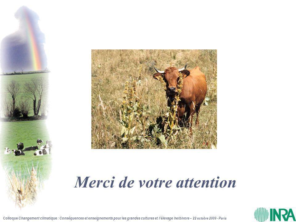 Colloque Changement climatique : Conséquences et enseignements pour les grandes cultures et l'élevage herbivore – 22 octobre 2009 - Paris Merci de votre attention