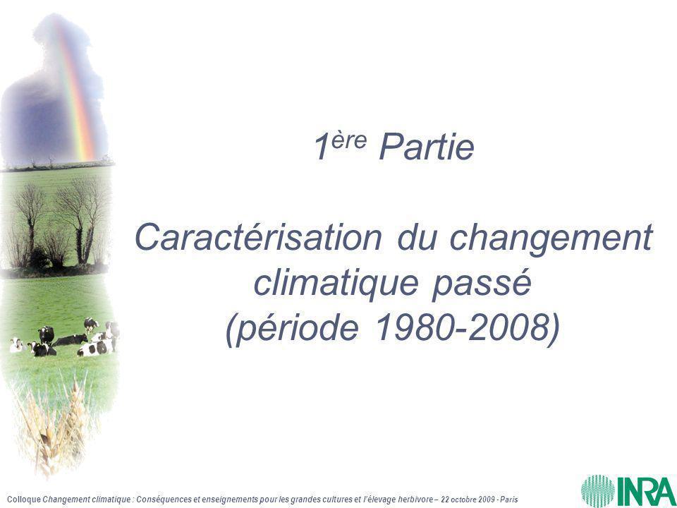 Colloque Changement climatique : Conséquences et enseignements pour les grandes cultures et l'élevage herbivore – 22 octobre 2009 - Paris Période mai-août 2008/1980 : Somme d'ETP - +123mm sur 29 ans (+132 mm en plaine, +95 mm sur les plateaux) - En plaine toutes les ETP jusqu'à Albi et Lyon sont supérieures à Montpellier-1980 (niveau méditerranéen ) - Correspond à avancée iso-ETP de 300-400km vers N et NO PLATEAUX PLAINES RESULTATS