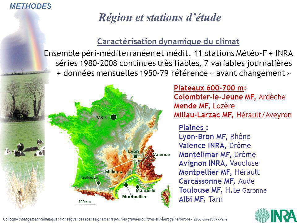 Colloque Changement climatique : Conséquences et enseignements pour les grandes cultures et l'élevage herbivore – 22 octobre 2009 - Paris - Janv-Avril : effet température ++ et léger effet CO 2  +28% de production soit +0.43tMS/ha - Mai-Août : Effet sécheresse à peine compensé par l'effet CO 2  -25%de production soit –1.3tMS/ha - Sept-Déc : Les effets se compensent Bilan global  PERTE GLOBALE MOYENNE DE –11% soit –0.9tMS/ha en tendance Tendances de la production d'une prairie moyenne péri-méditerranéenne de 1980 à 2008 RESULTATS