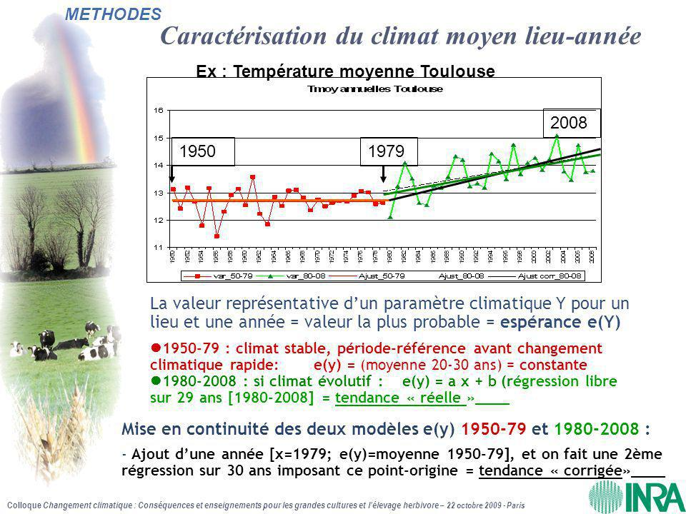 Colloque Changement climatique : Conséquences et enseignements pour les grandes cultures et l'élevage herbivore – 22 octobre 2009 - Paris Températures moyennes annuelles de 1980 à 2008 Augmentation significative sur toutes les stations, assez uniforme : entre +0.45 et +0,55°C/décennie sur la région (+1.6 °C en 29 ans)  Lyon : + 0.67°C /décennie (+ 2°C en 29 ans) RESULTATS