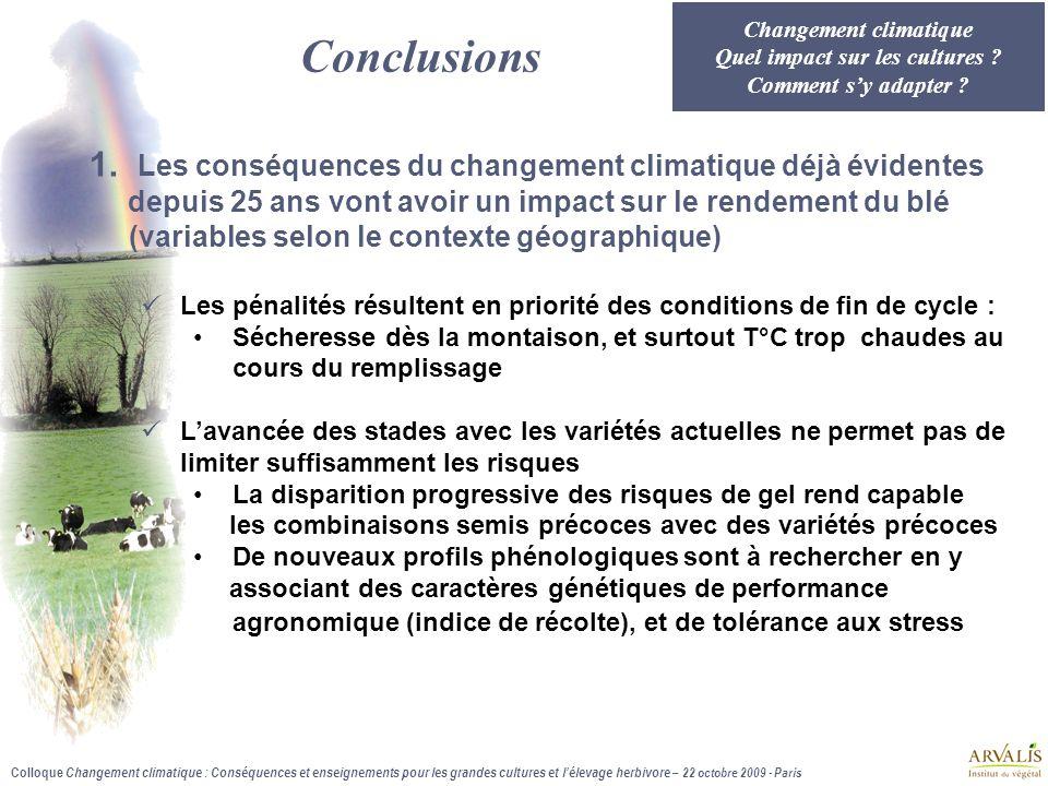 Colloque Changement climatique : Conséquences et enseignements pour les grandes cultures et l'élevage herbivore – 22 octobre 2009 - Paris Conclusions 1.